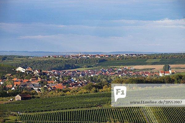 Obereisenheim links  Stammheim am Main rechts und Lindach hinten  Mainfranken  Unterfranken  Franken  Bayern  Deutschland  Europa