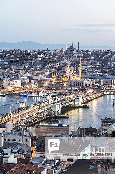 Cityscape at night  Galata Bridge  Golden Horn  Bosphorus  New Mosque  Mosque  Fatih  Istanbul  European side  Turkey  Asia