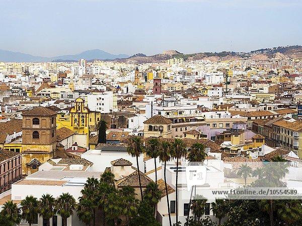Ausblick von der Festung Alcazaba auf die Altstadt von Malaga  Provinz Málaga  Andalusien  Spanien  Europa
