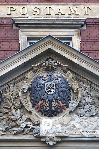 Reichsadler am Giebel  Postamt  1887  Görlitz  Oberlausitz  Sachsen  Deutschland  Europa