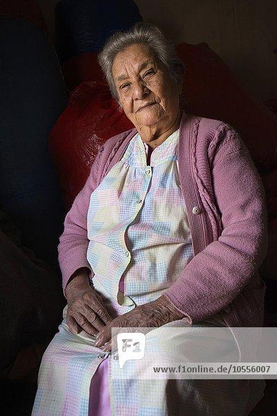 90-year-old woman  portrait  coca trader  Coroico  La Paz  Bolivia  South America