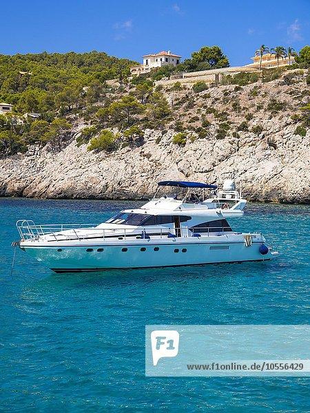 Motoryacht an der Küste Cala Blanca  Es Camp de Mar  Mallorca  Balearen  Spanien  Europa