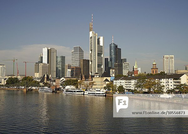 Cityscape with skyline  Financial District and Main  Frankfurt am Main  Hesse  Germany  Europe