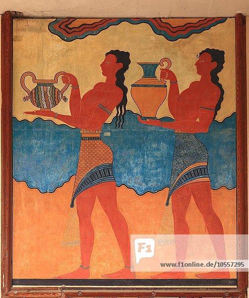Wandgemälde  Palastanlage der Minoer  Knossos  Kreta  Griechenland  Europa