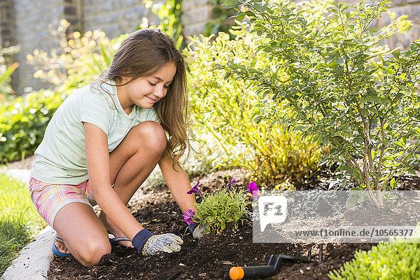 Europäer Garten Mädchen Hinterhof anpflanzen Setzling