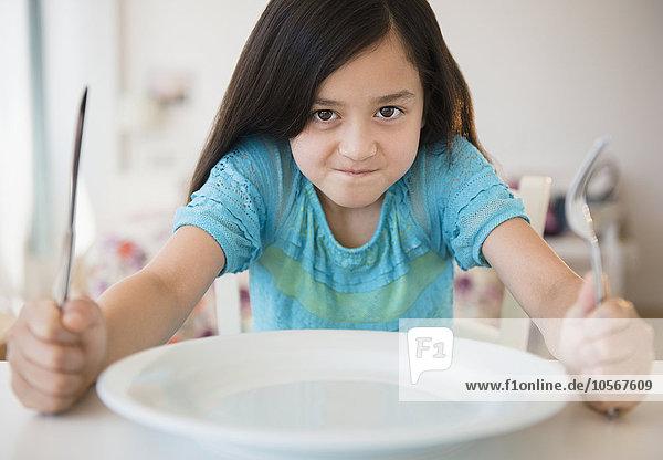 Lebensmittel hungrig Ungeduld Mädchen