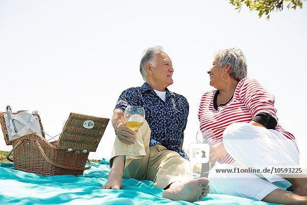 Seniorenpaar beim Picknick im Freien