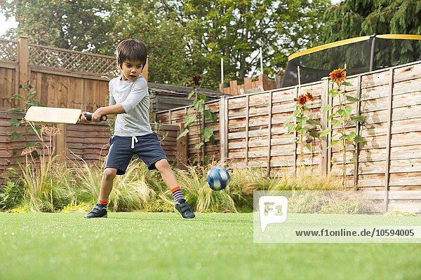 Boy playing cricket in garden  ball in mid air