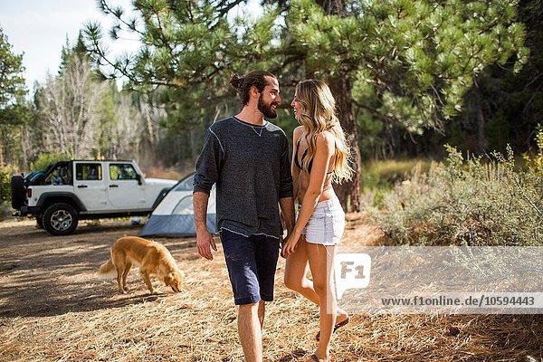 Romantisches junges Paar hält sich an den Händen auf dem Waldcampingplatz  Lake Tahoe  Nevada  USA