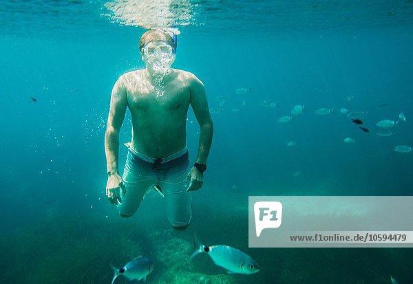 Unterwasseransicht des reifen Mannes beim Schnorcheln  Menorca  Balearen  Spanien