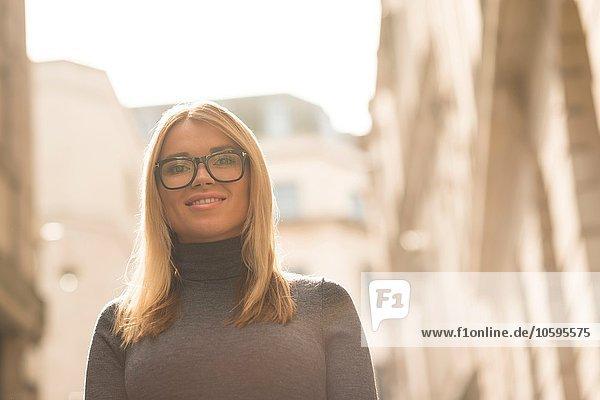 Woman posing in street