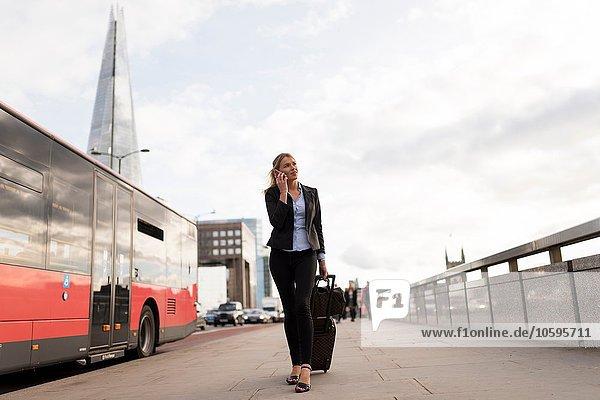 Businesswoman on business trip  London  UK