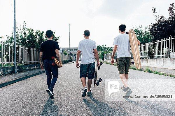 Rückansicht der jungen Männer  die auf einem Pfad mit Skateboards laufen.
