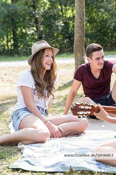 Gruppe junger Erwachsener auf Picknickdecke sitzend  junge Frau beim Gitarrespielen Gruppe junger Erwachsener auf Picknickdecke sitzend, junge Frau beim Gitarrespielen