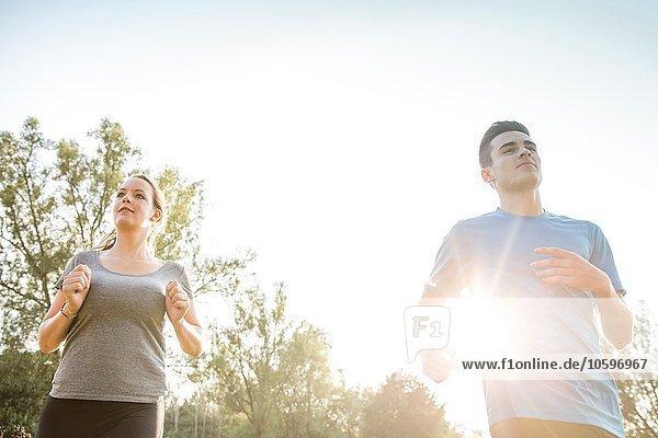 Zwei junge Erwachsene  die durchs Feld laufen Zwei junge Erwachsene, die durchs Feld laufen