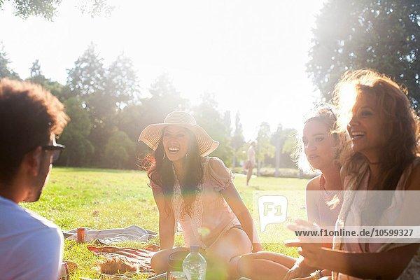 Erwachsene Freunde beim Plaudern bei Sonnenuntergang im Park