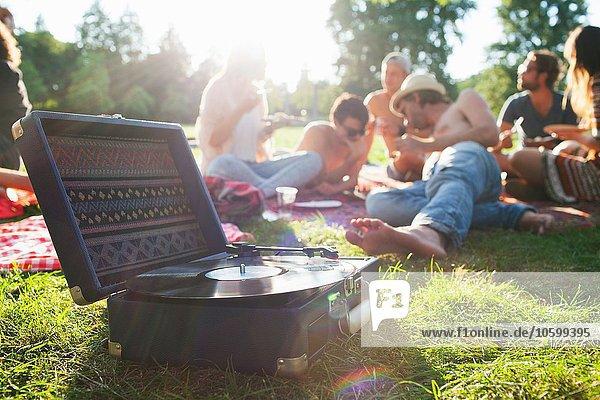 Erwachsene Freunde  die sich entspannen und bei der Sonnenuntergangsparty auf dem Plattendeck hören.