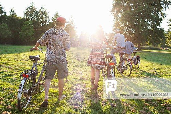 Rückansicht der erwachsenen Partygäste  die mit dem Fahrrad zur Sunset-Park-Party anreisen