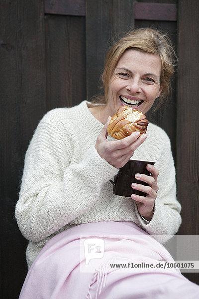 Portrait Frau Pause reifer Erwachsene reife Erwachsene Kaffee