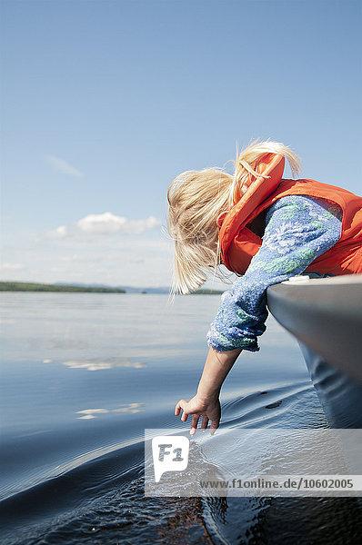 sehen Boot Meer Mädchen