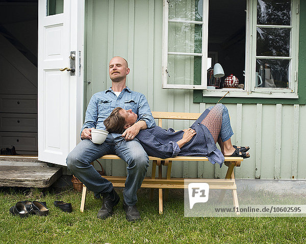 Mature couple in front of house  Molle  Sweden