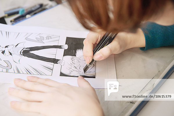 arbeiten Studioaufnahme Künstler japanisch manga
