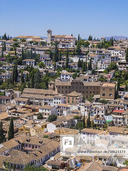 Spanien  Andalusien  Granada  Blick vom Alhambra Palast auf Albayzin