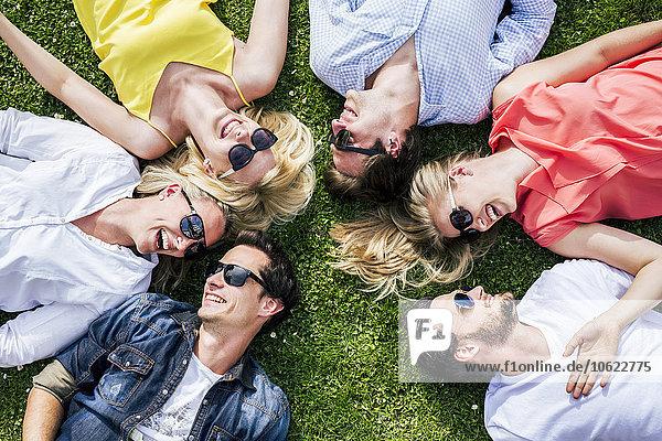 Glückliche Freunde mit Sonnenbrille auf der Wiese liegend