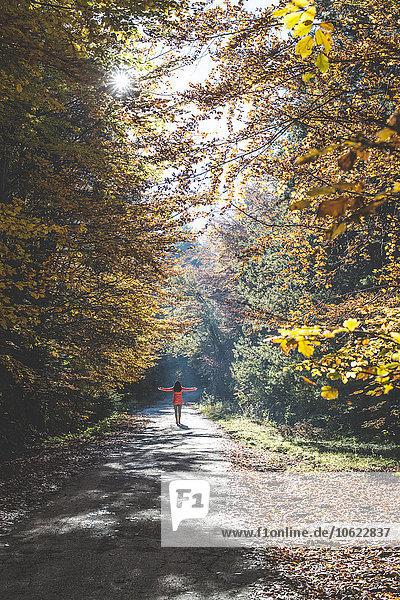 Rückansicht einer Frau  die das Sonnenlicht im herbstlichen Wald genießt.