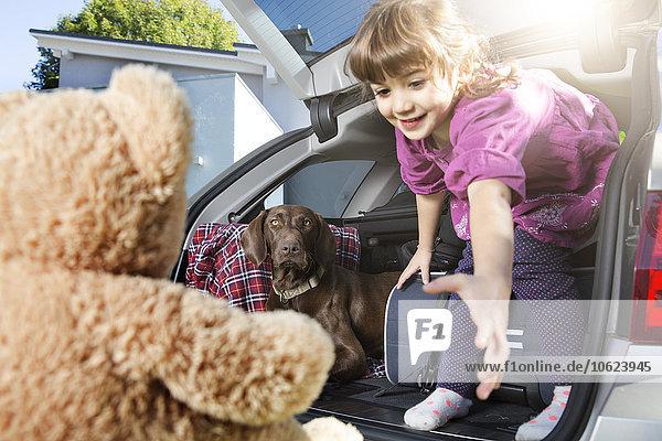 Lächelndes Mädchen im Kofferraum mit Hund beim Anblick des Teddybären