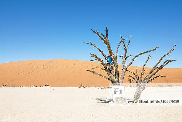 Namibia  Namib Wüste  Mann auf totem Baum in Deadvlei