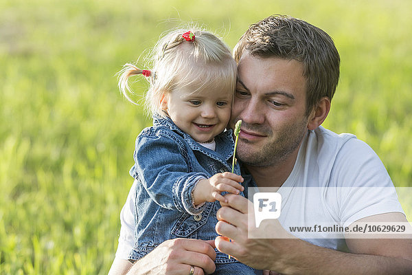 Father with little daughter on a meadow