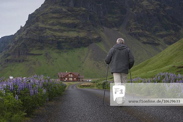 Island  Mann geht auf Landstraße