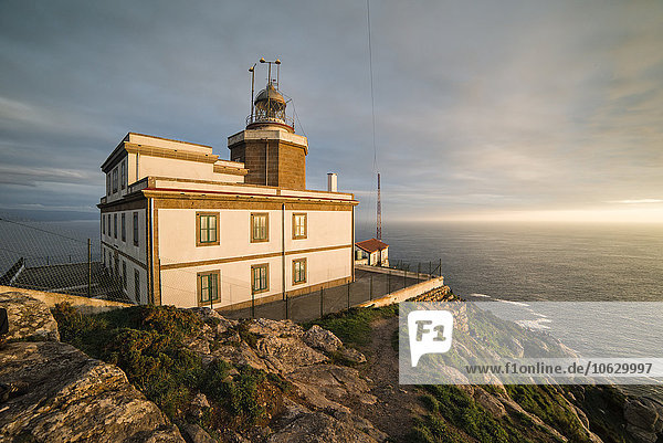Spain  Finisterre  view to lighthouse at twilight