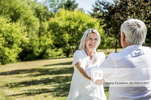 Glückliches älteres Paar auf einer Wiese