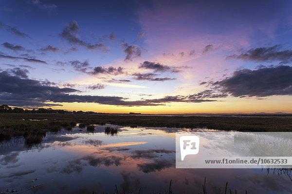 Schottland  East Lothian  Sonnenuntergang über Aberlady Bay