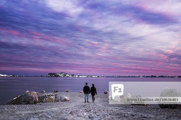 stehend führen Sonnenuntergang Meer Rückansicht Ansicht Länge voll Buhne