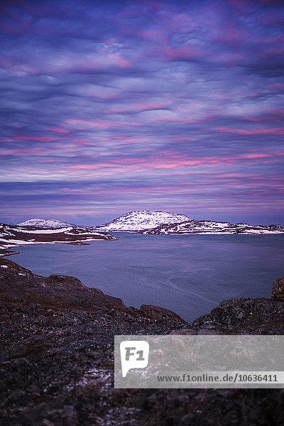 Landschaftlich schön landschaftlich reizvoll Sonnenuntergang Himmel dramatisch Meer Ansicht