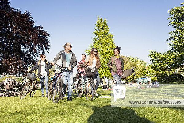 Freundschaft Tag gehen Sonnenlicht Länge Fahrrad Rad voll