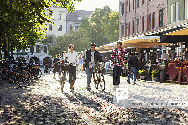 Freundschaft gehen Straße Großstadt Skateboard Länge Fahrrad Rad voll