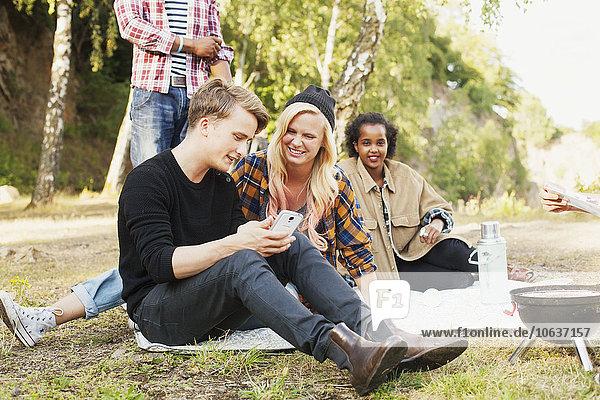 Handy Zusammenhalt benutzen Fröhlichkeit Freundschaft Picknick Kurznachricht
