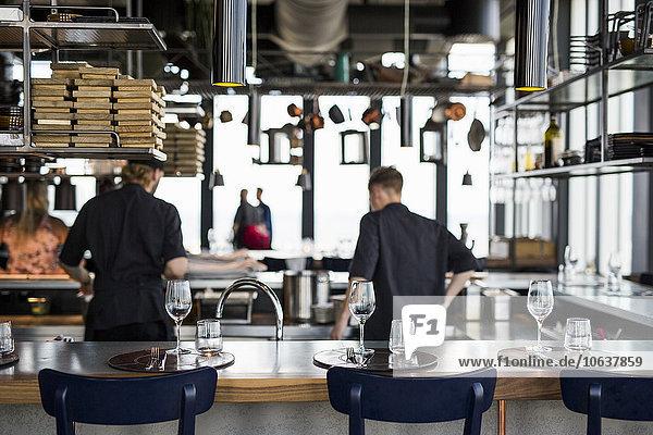 kochen Lebensmittel Küche Restaurant Rückansicht Ansicht Koch