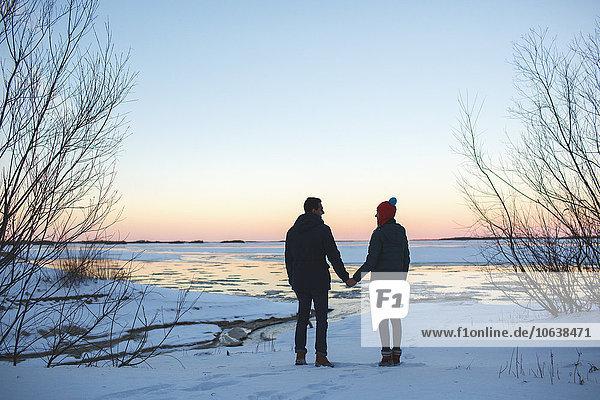 Durchgehende Rückansicht des jungen Paares mit den Händen auf dem schneebedeckten Feld