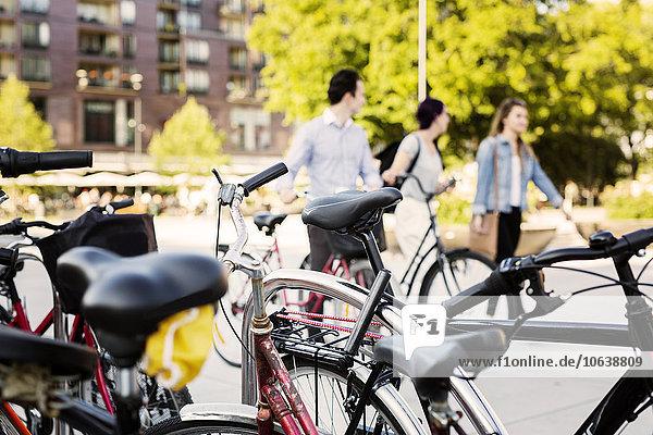 Freundschaft gehen Straße Fahrrad Rad