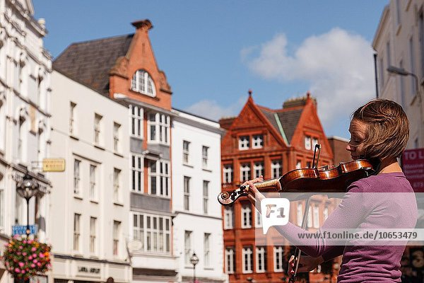 Dublin Hauptstadt Europa Straße Irland Geigenspieler
