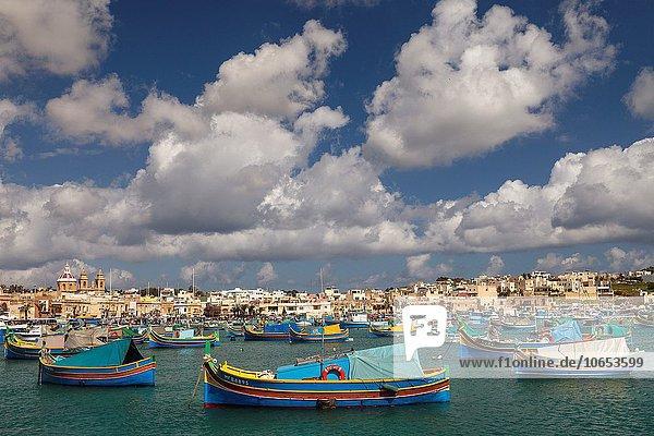 Valletta Hauptstadt Europa Großstadt Boot Malta Marsaxlokk