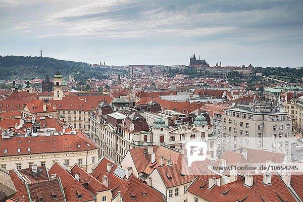 Tschechische Republik Tschechien Ansicht Prag Hauptstadt Luftbild Fernsehantenne