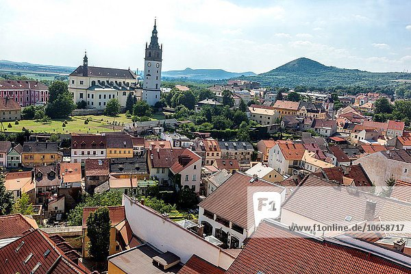 Cathedral of St. Stephen with belfry. Litomerice  Northern Bohemia  Czech Republic.