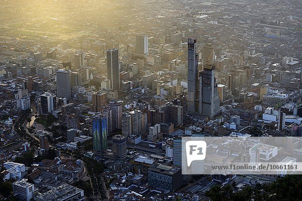 City centre  Central Business District  at sunset  view from view from Cerro Monserrate  Bogotá  Colombia  South America