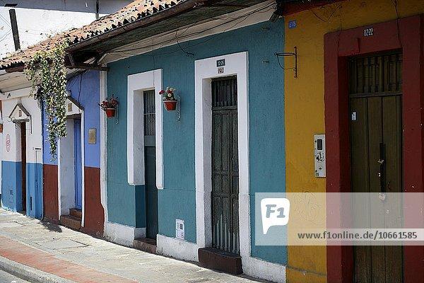 Colourful façades in historic centre  La Candelaria  Bogotá  Colombia  South America